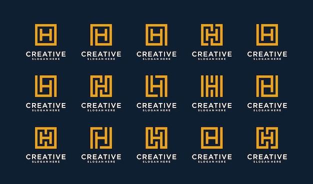 Set van letter h-logo in vierkante stijl