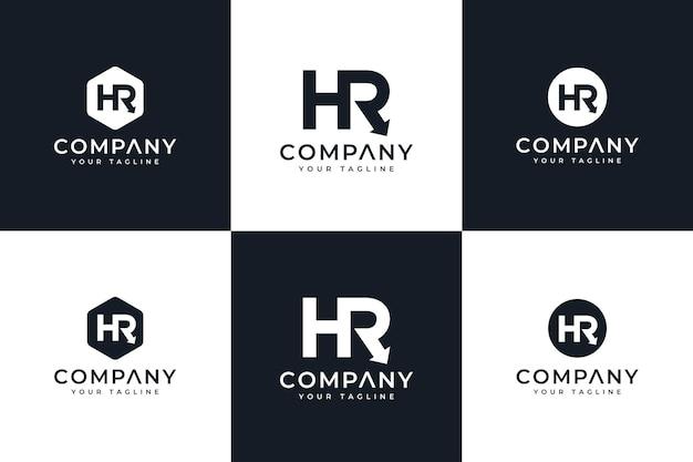 Set van letter hr-logo creatief ontwerp voor alle toepassingen