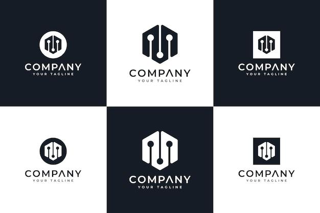 Set van letter m dot logo creatief ontwerp voor alle toepassingen