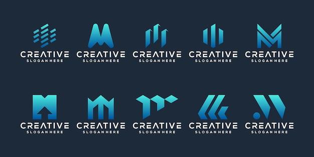 Set van letter m logo ontwerp