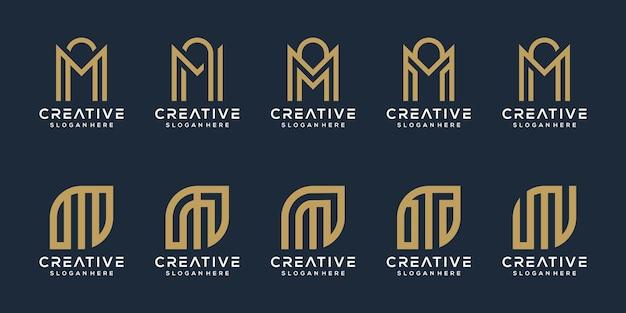 Set van letter m logo-ontwerp