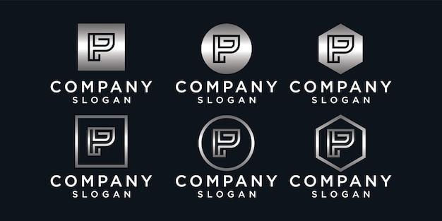 Set van letter p logo design collectie, modern, verloop, abstract
