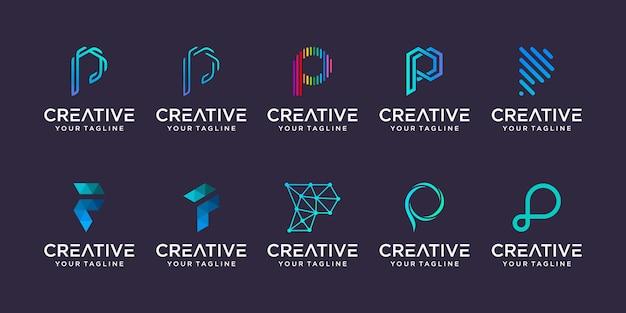 Set van letter p logo sjabloon