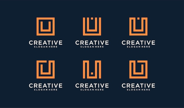 Set van letter u-logo in cirkelstijl