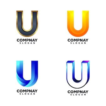 Set van letter u ontwerpsjablonen
