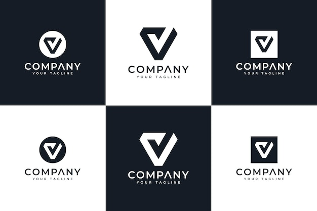 Set van letter v check logo creatief ontwerp voor alle toepassingen