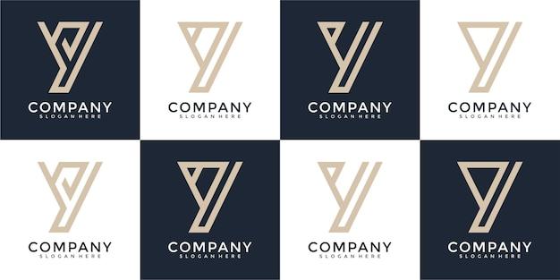 Set van letter y monogram logo ontwerpsjabloon