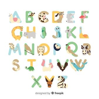 Set van letters met schattige dieren
