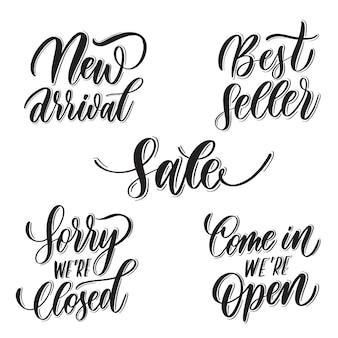 Set van letters: nieuwe aankomst, bestseller, sorry we zijn gesloten
