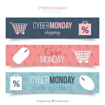 Set van leuke banners met cyber maandag kortingen