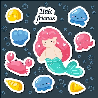 Set van leuke creatieve kaartsjablonen met zeemeermin thema ontwerp