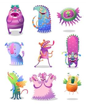 Set van leuke en vrolijke kleurrijke monster met grote ogen