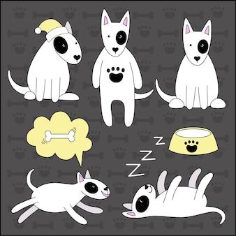 Set van leuke grappige honden van het ras van de bull terrier. de hond slaapt, rent, zit. verschillende huisdier poses. vectorillustratie in doodle-stijl
