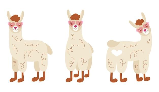 Set van leuke grappige lama's in roze zonnebril. handgeschreven vector lama's.