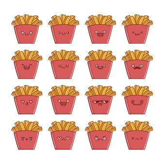Set van leuke kawaii aardappelfrietjes tekenfilms