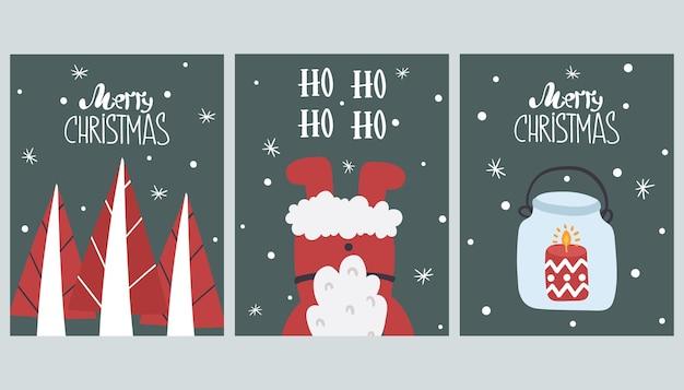 Set van leuke merry christmas wenskaarten.