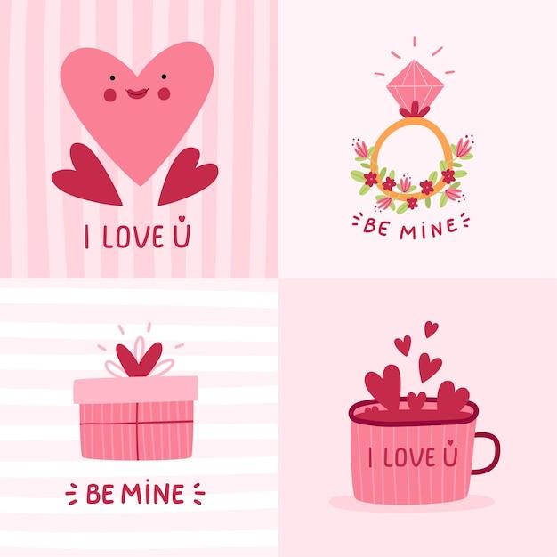 Set van leuke, romantische valentijnsdag kaart met cadeau, harten, beker en ring. cartoon hand getrokken.