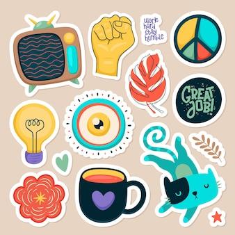 Set van leuke stickers Gratis Vector