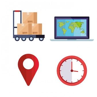 Set van levering logistieke service iconen