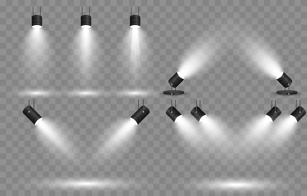 Set van licht. lichtbron, studioverlichting, muren. spotlight-verlichting, spotlight lichtstralen, lichteffect.