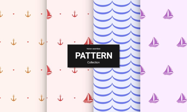 Set van lichte kleur naadloze patronen. vector naadloze nautische texturen. Premium Vector