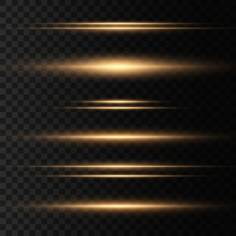Set van lichten schittert. pakket met horizontale lensfakkels. laserstralen, horizontale lichtstralen, lijnen.