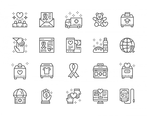 Set van liefdadigheid en donatie lijn iconen.
