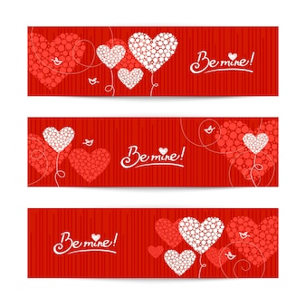 Set van liefde achtergrond met abstracte harten en vogels. valentijnsdag en trouwkaarten
