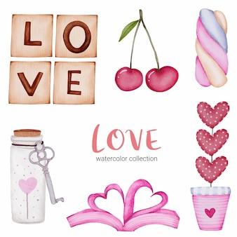 Set van liefde callection, geïsoleerde aquarel valentijn concept element mooie romantische rood-roze harten voor decoratie, illustratie.