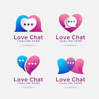 Set van liefde chat logo ontwerp