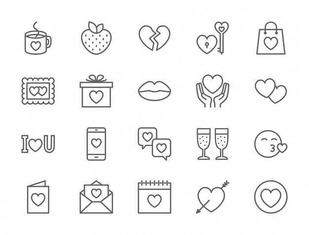 Set van liefde en valentijnsdag pictogrammen