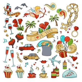 Set van liefde pictogrammen en tekens. romantische elementen op witte achtergrond. valentijnsdag symbolen.