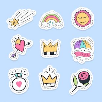 Set van liefde stickers, spelden, patches en handgeschreven collectie in cartoon stijl