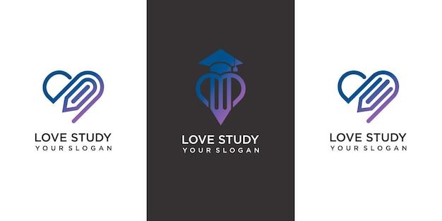 Set van liefdesstudie logo sjabloon met moderne concept premium vector
