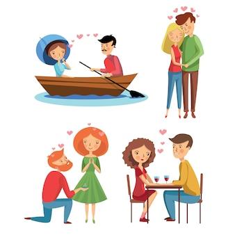 Set van liefdevolle paren in verschillende situaties. huwelijksaanzoek. meisje en jongen knuffelen. romantische date