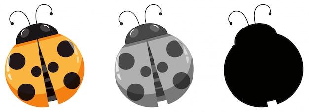 Set van lieveheersbeestje karakter