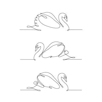 Set van lijn kunst zwaan. minimaal lineair logo