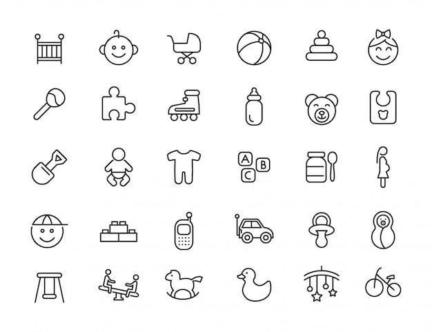 Set van lineaire baby pictogrammen. pasgeboren pictogrammen in eenvoudig ontwerp. vector illustratie