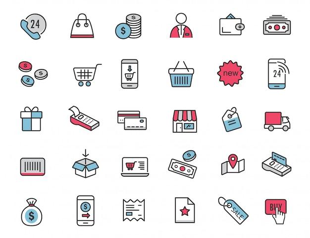 Set van lineaire e-commerce pictogrammen winkelen pictogrammen