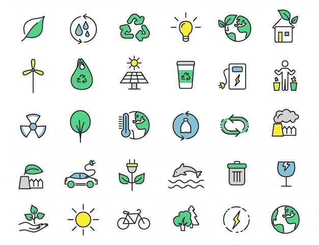 Set van lineaire ecologie pictogrammen milieu pictogrammen