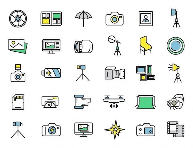 Set van lineaire fotostudio pictogrammen fotograaf pictogrammen