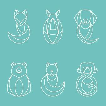 Set van lineaire geometrische dierlijke vectoren