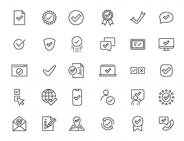 Set van lineaire goedkeuren van pictogrammen. controleer pictogrammen in eenvoudig ontwerp. vector illustratie