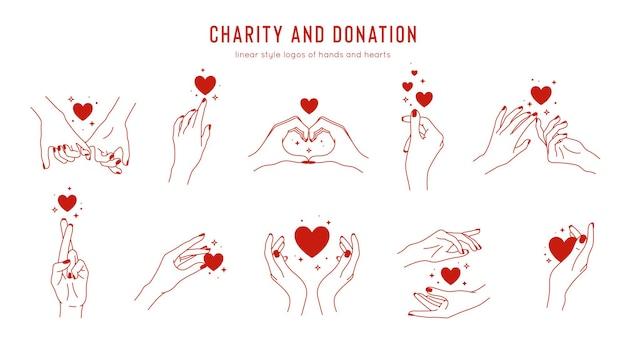 Set van lineaire hand in hand gebaren, logo ontwerpsjabloon