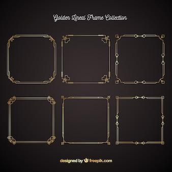 Set van lineaire kaders in gouden stijl