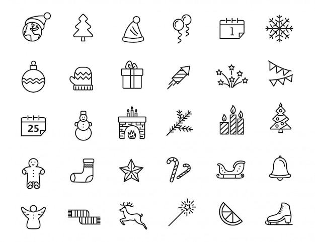 Set van lineaire kerst iconen. nieuwjaarspictogrammen in eenvoudig ontwerp.