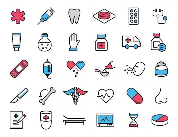 Set van lineaire medische pictogrammen gezondheid pictogrammen
