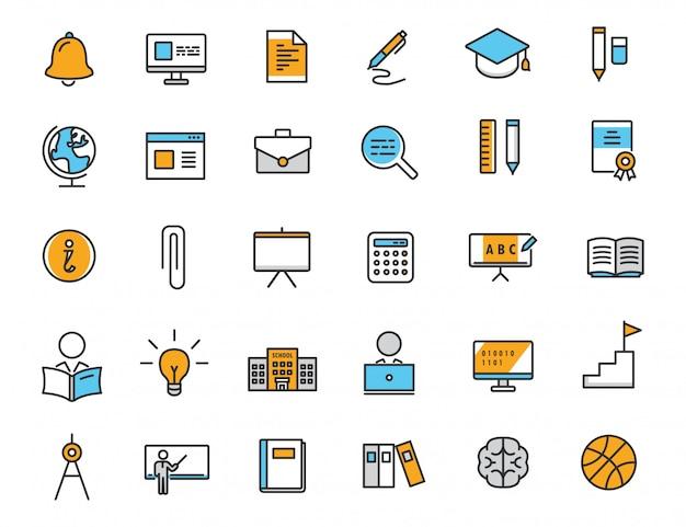 Set van lineaire onderwijs pictogrammen school pictogrammen