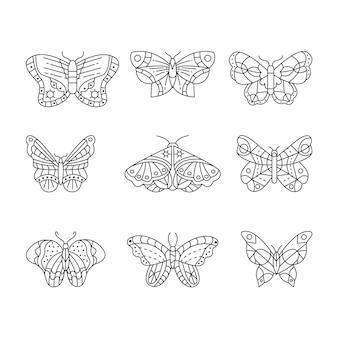Set van lineaire platte vlinderomtrek
