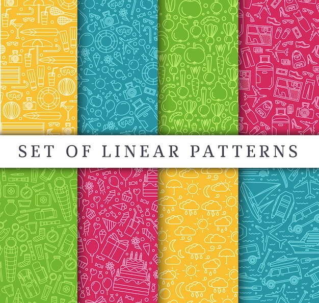 Set van lineaire reisstijl concept